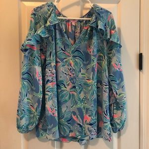 Lilly Pulitzer Elora Ruffle Long Sleeve Top
